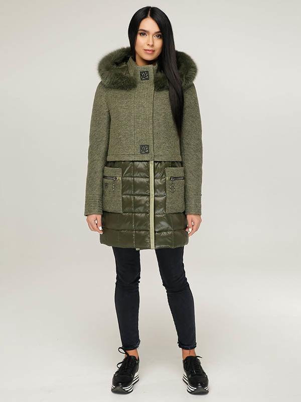 Пальто цвета хаки   4643505