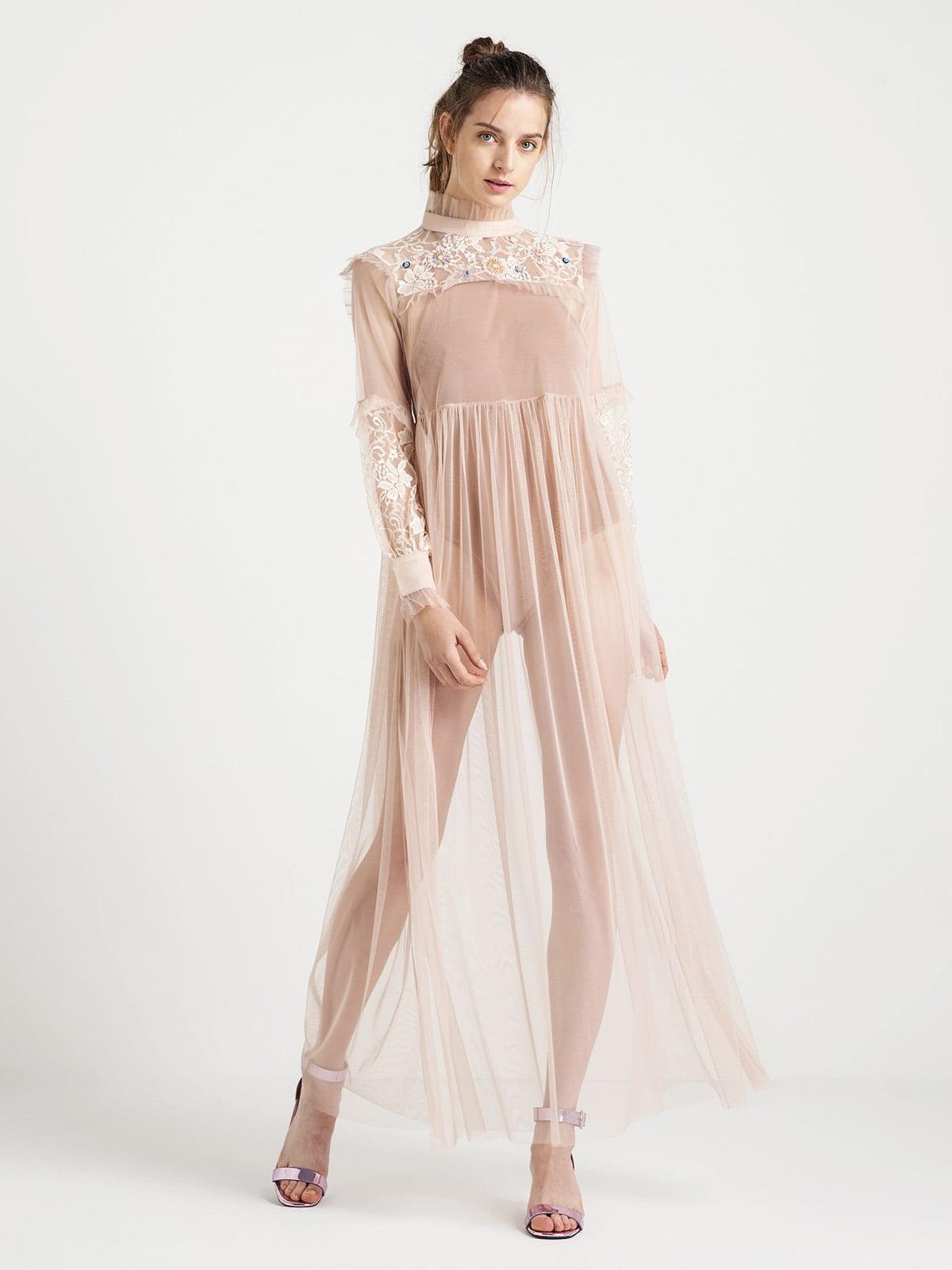 Сукня кольору пудри з декором | 4638427