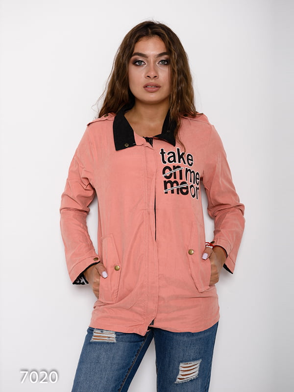 Куртка персикового кольору з принтом   4641094