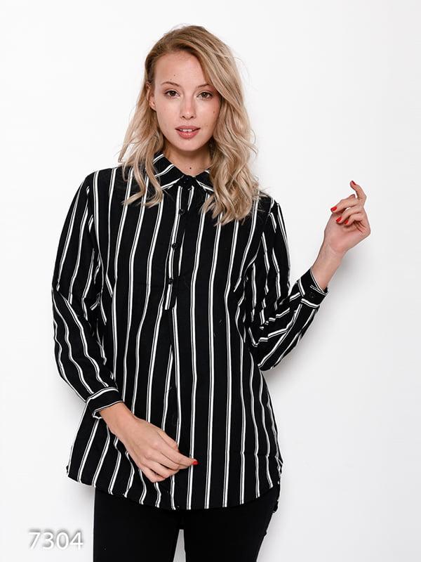 Рубашка черная в полоску | 4641225