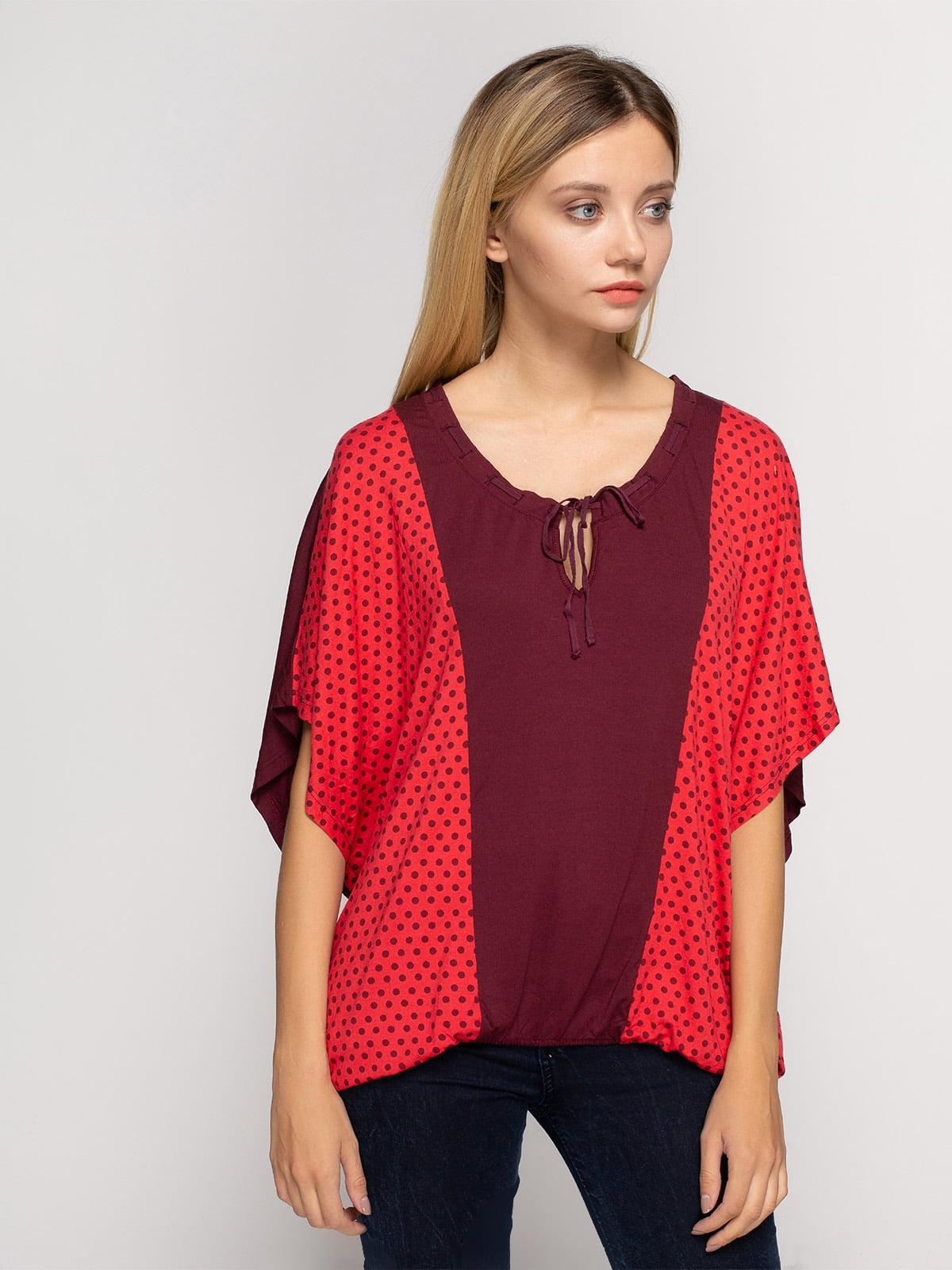 Блуза бордово-червона в горох | 4617481