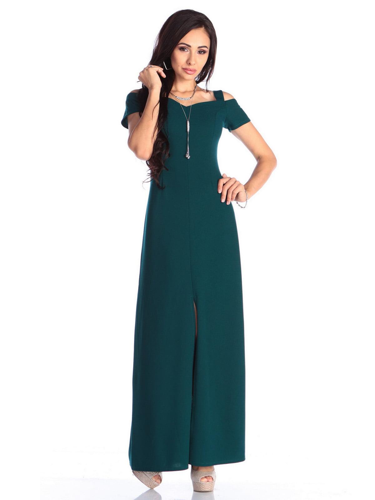 Платье темно-изумрудного цвета | 4636988 | фото 5