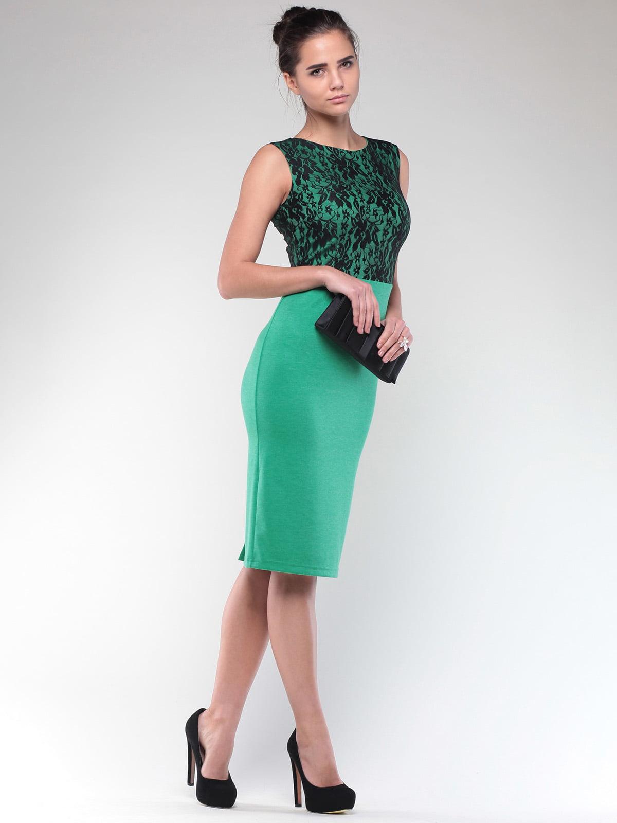Платье зелено-черного цвета | 4637076 | фото 4