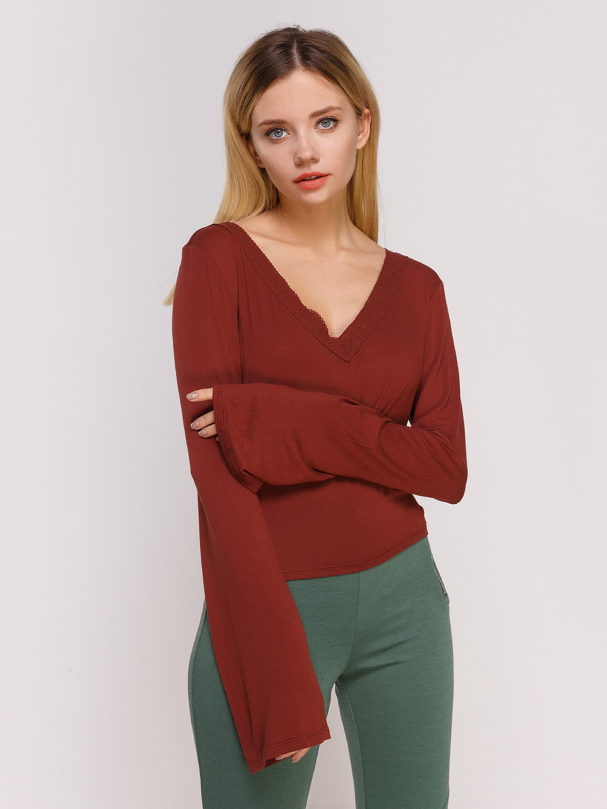 Пуловер бордовий | 4622869