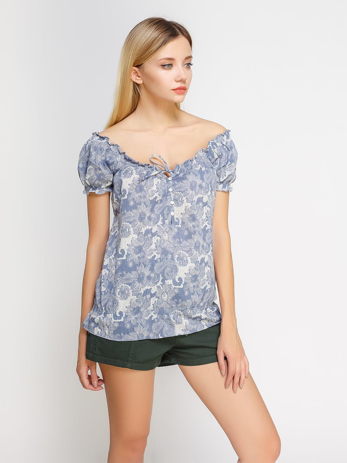 Блуза блакитна в квітковий принт | 4627257
