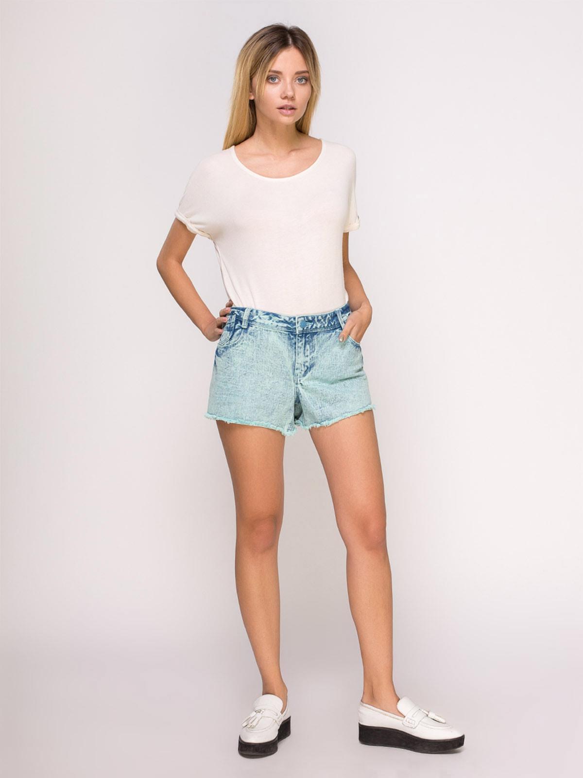 Шорты зелено-голубые джинсовые | 4624006 | фото 2