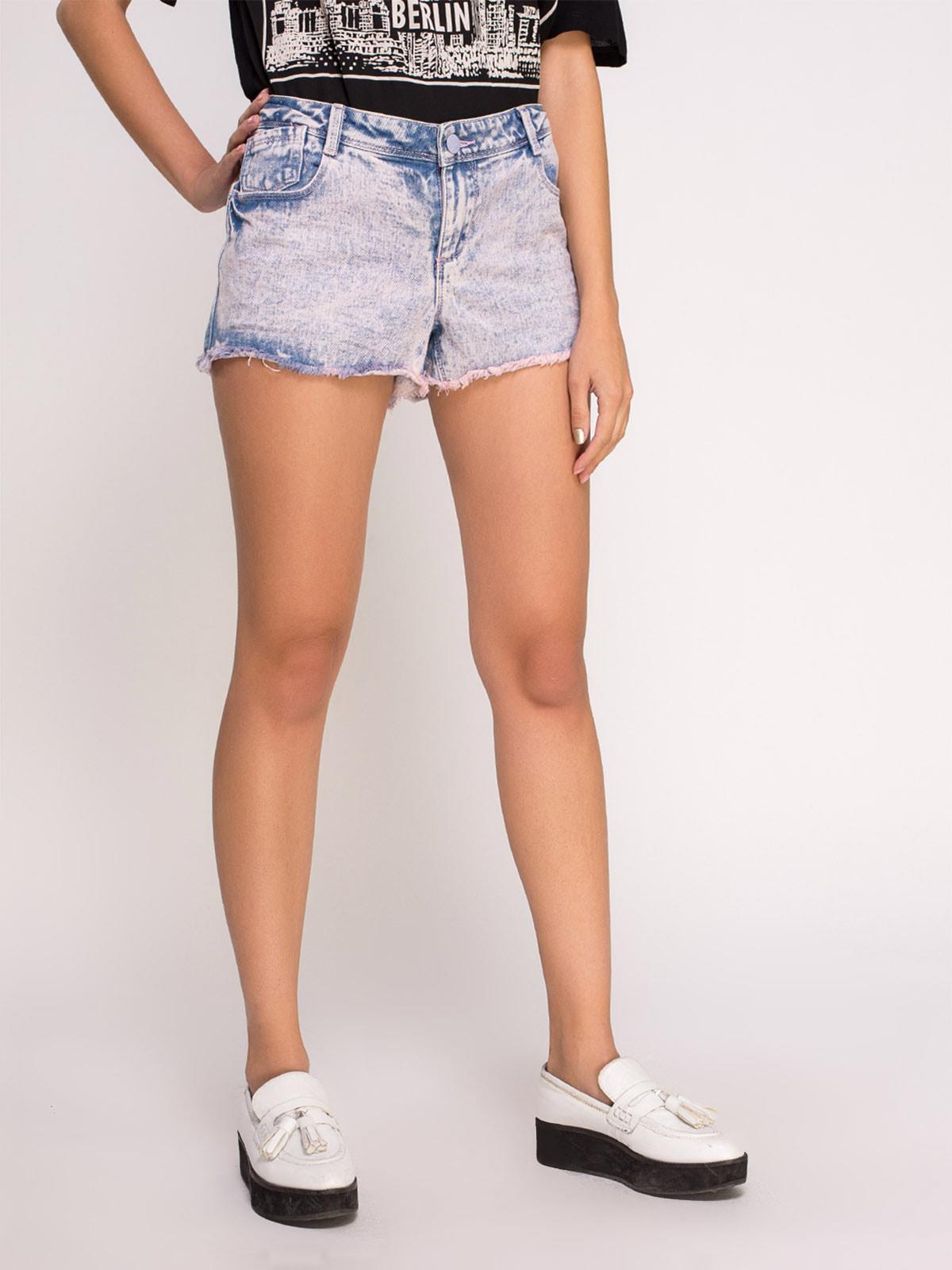 Шорты розово-голубые джинсовые | 4625096