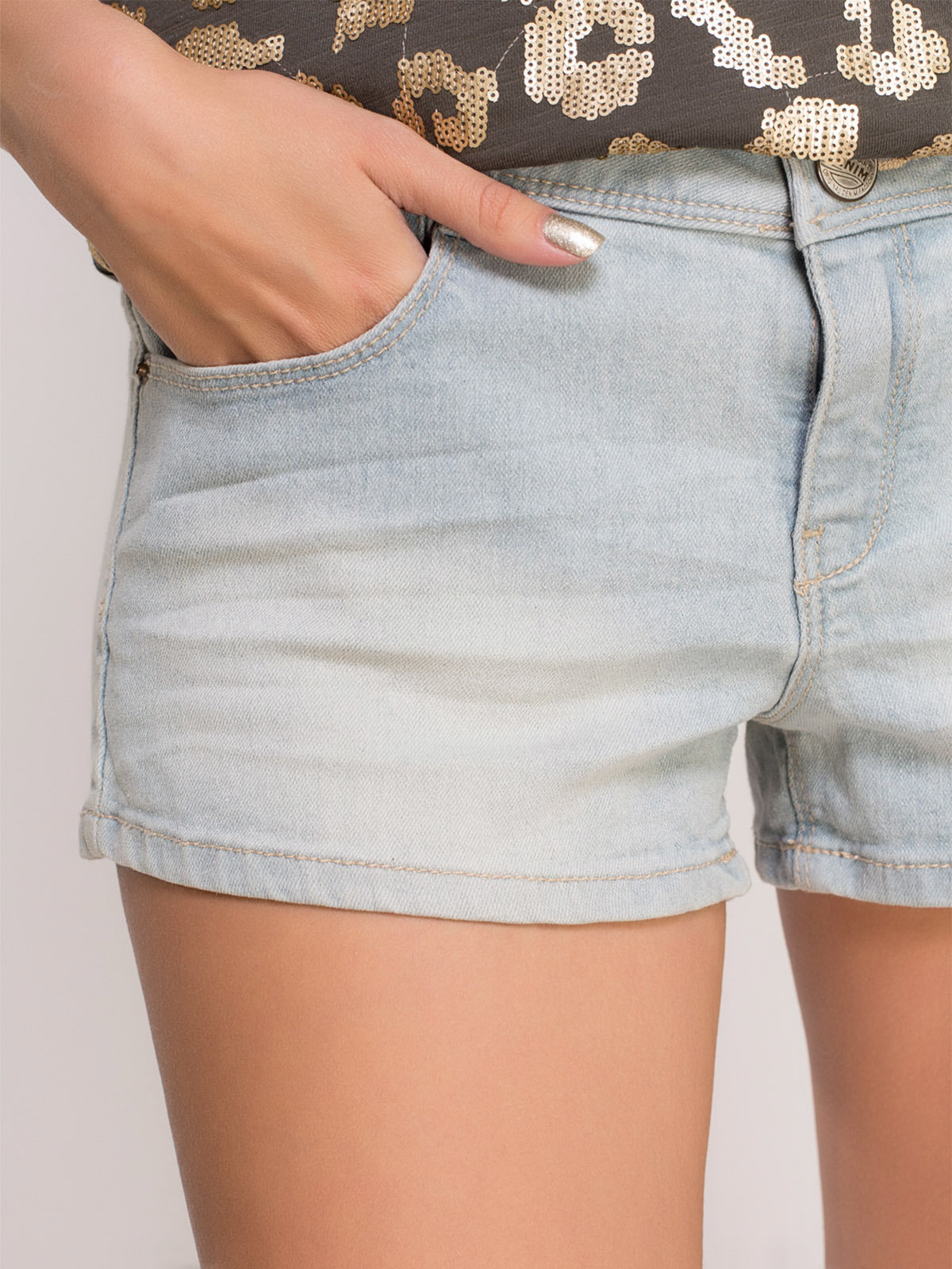 Шорты голубые джинсовые | 4624233 | фото 4