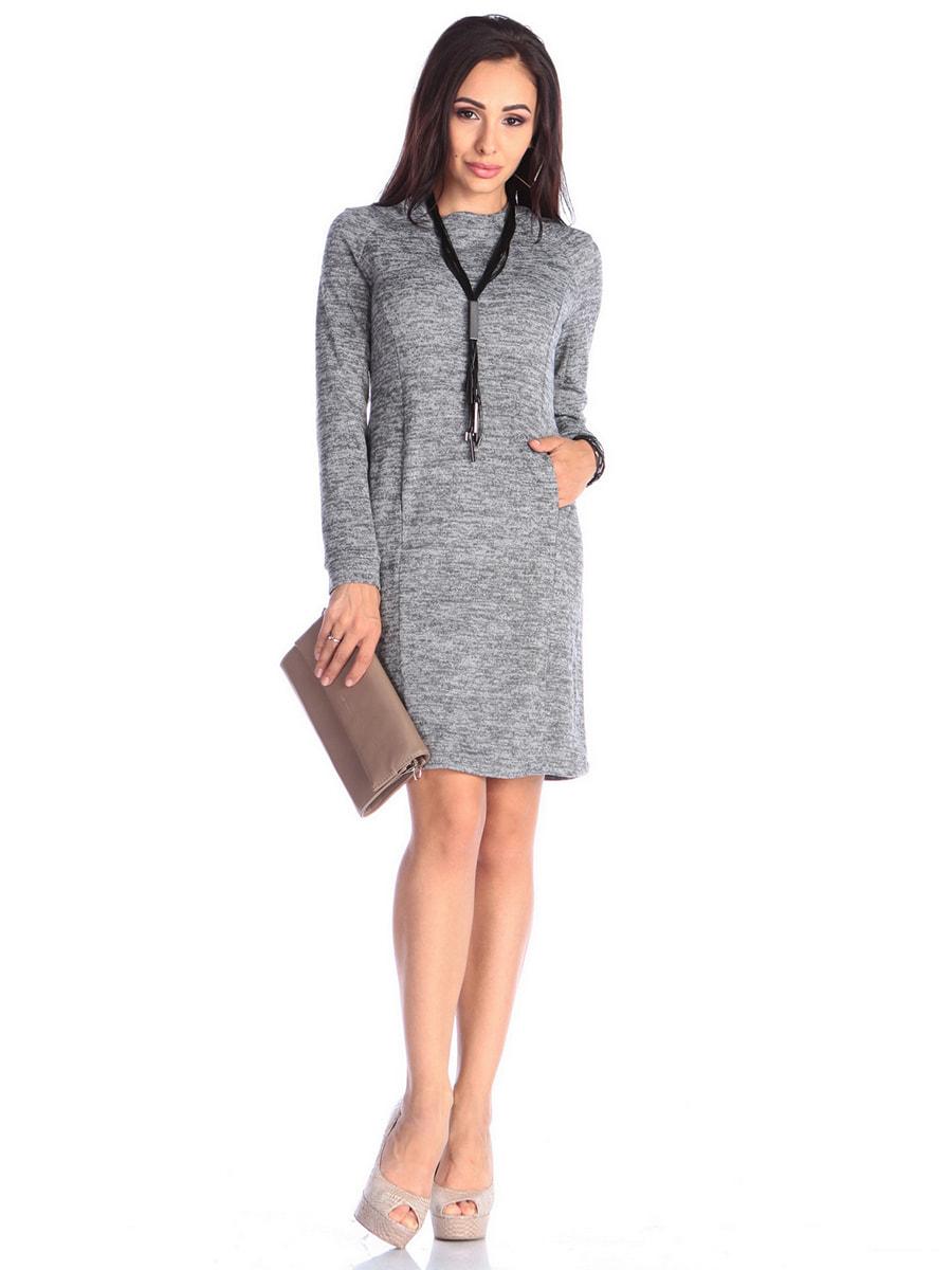 Платье цвета серый меланж | 4672176