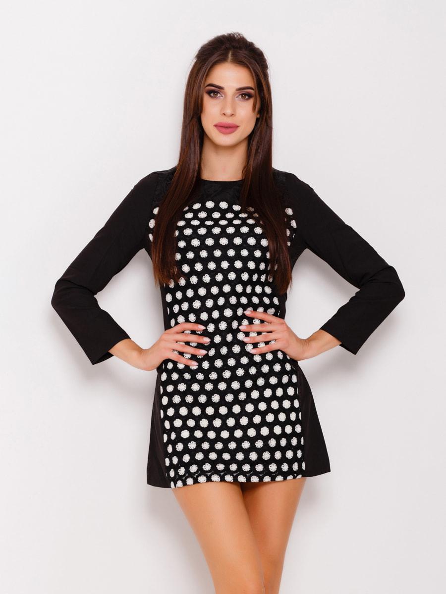 Сукня чорна з принтом | 4678656