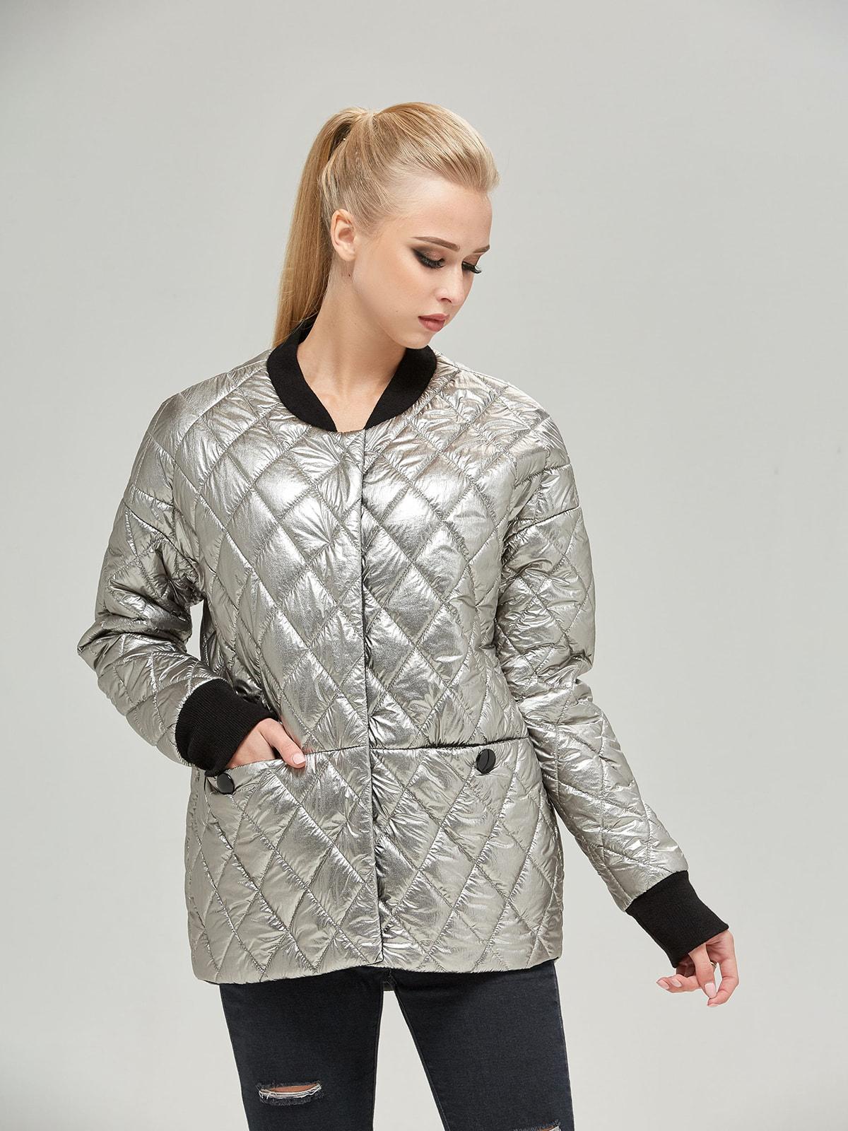 Куртка кольору платини | 4680357 | фото 2