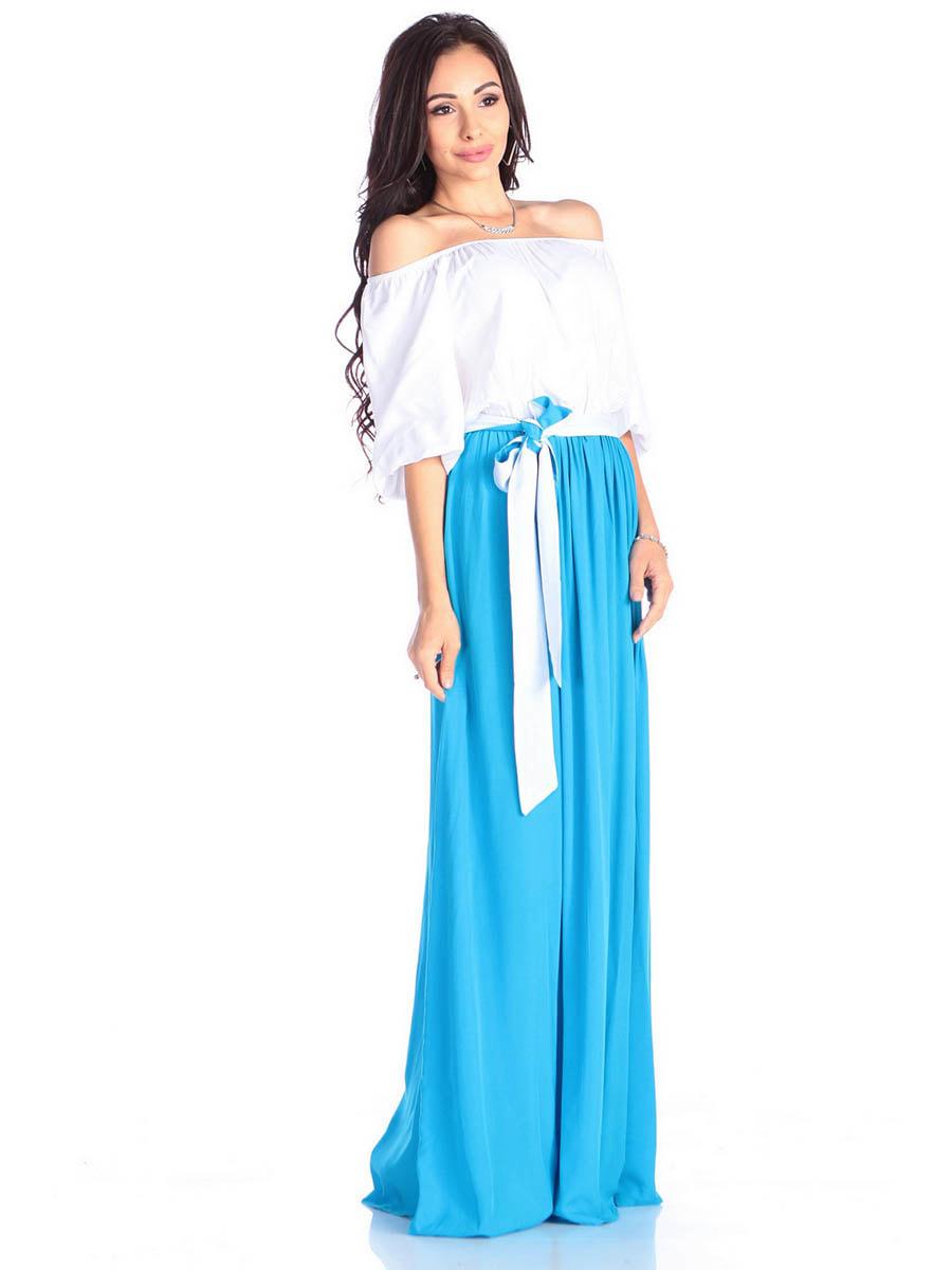 Платье молочно-голубого цвета | 4677393 | фото 4