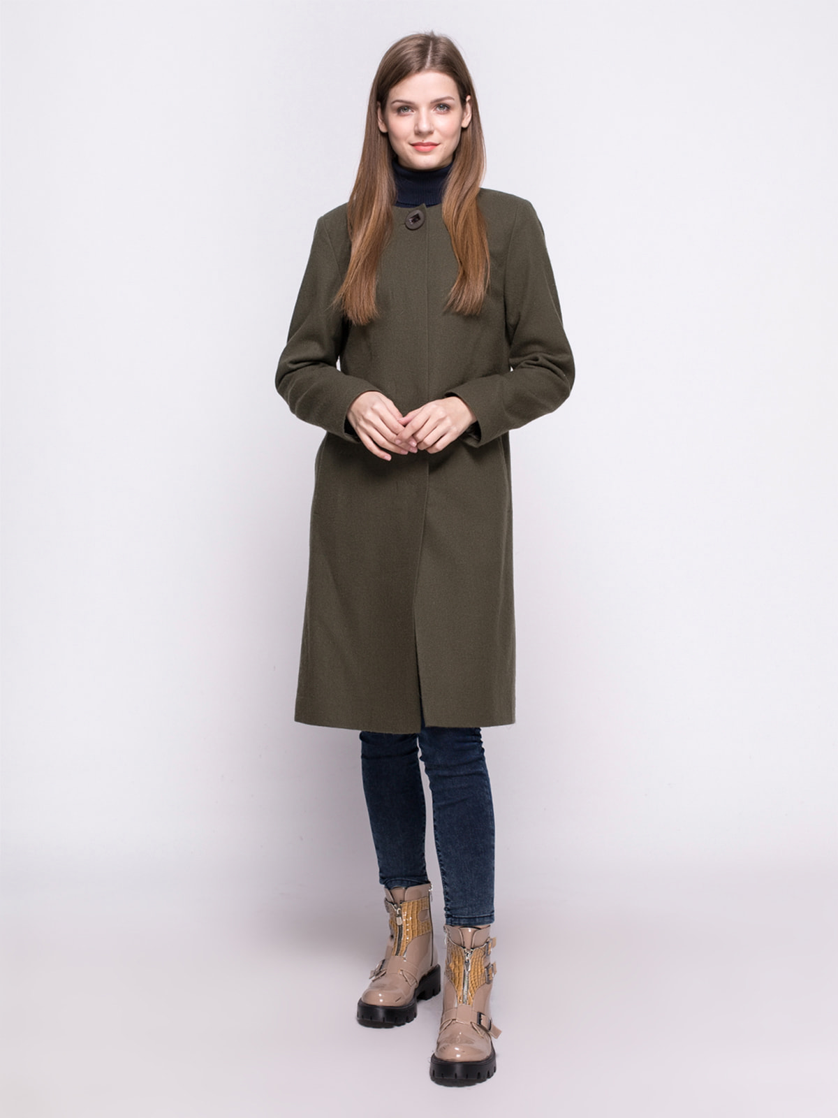 Пальто оливкового цвета | 4683543 | фото 2