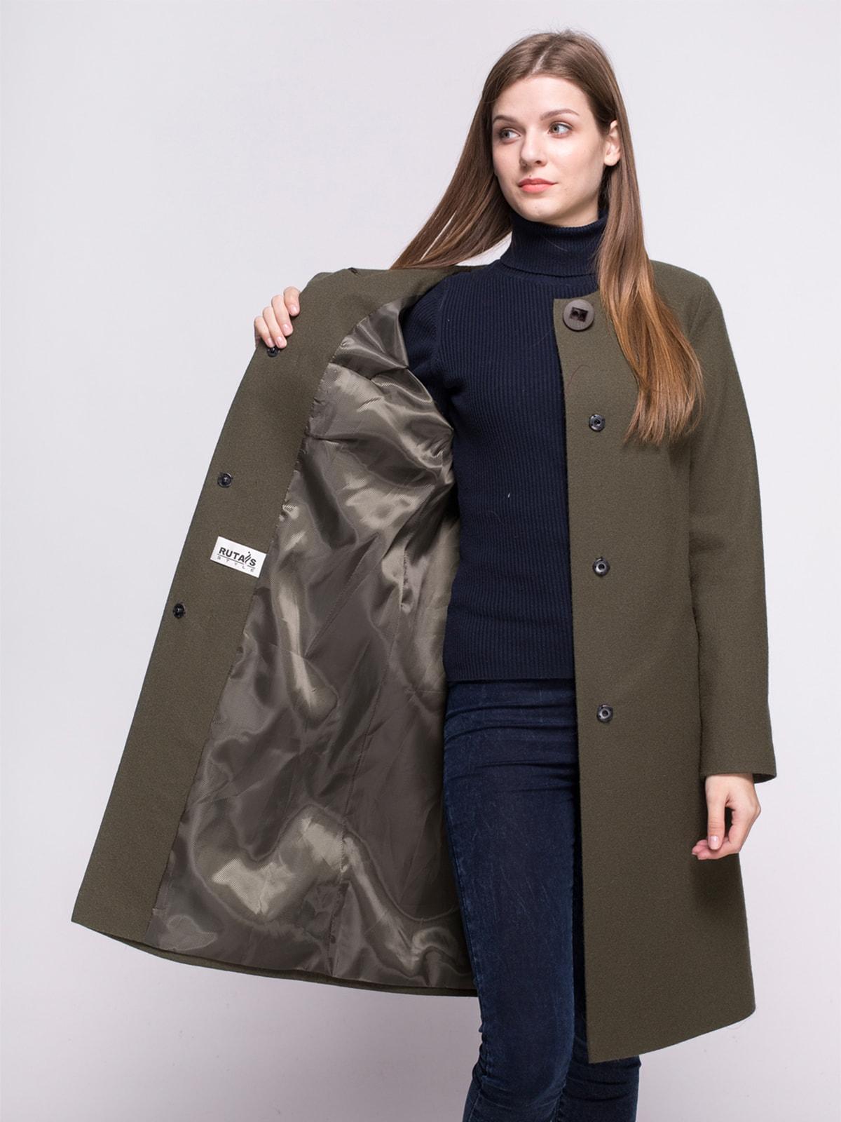 Пальто оливкового цвета | 4683543 | фото 4