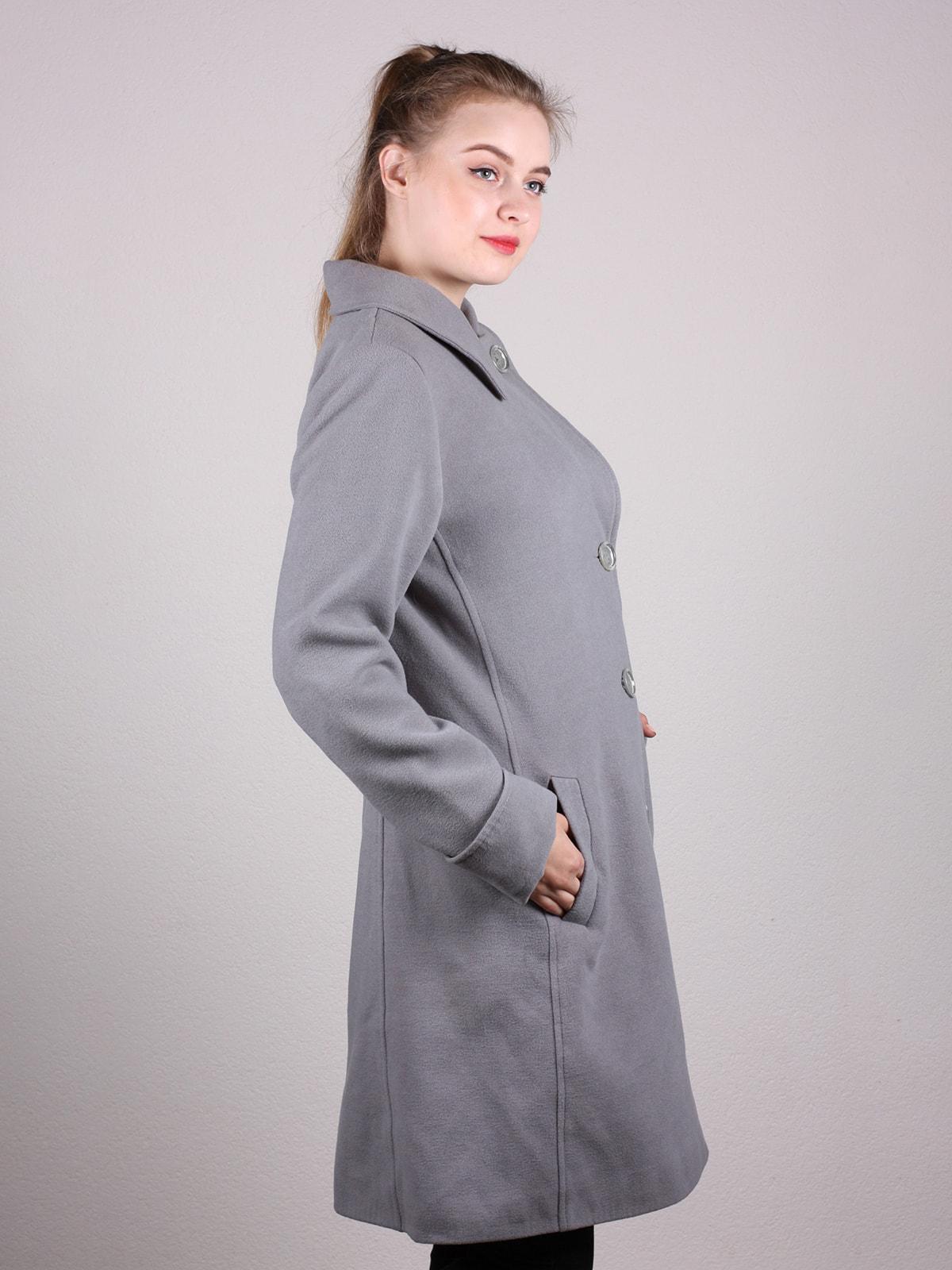 Пальто серое | 4690593 | фото 3