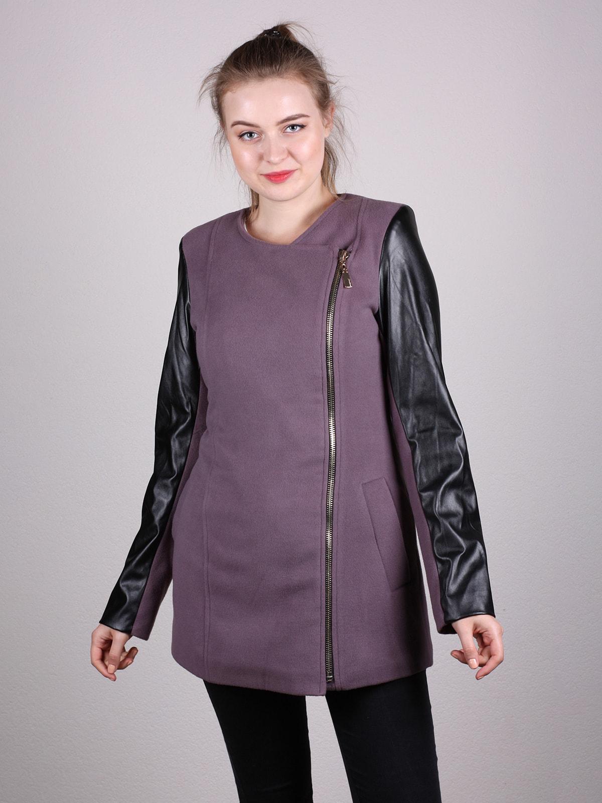Пальто сиренево-черное | 4690630