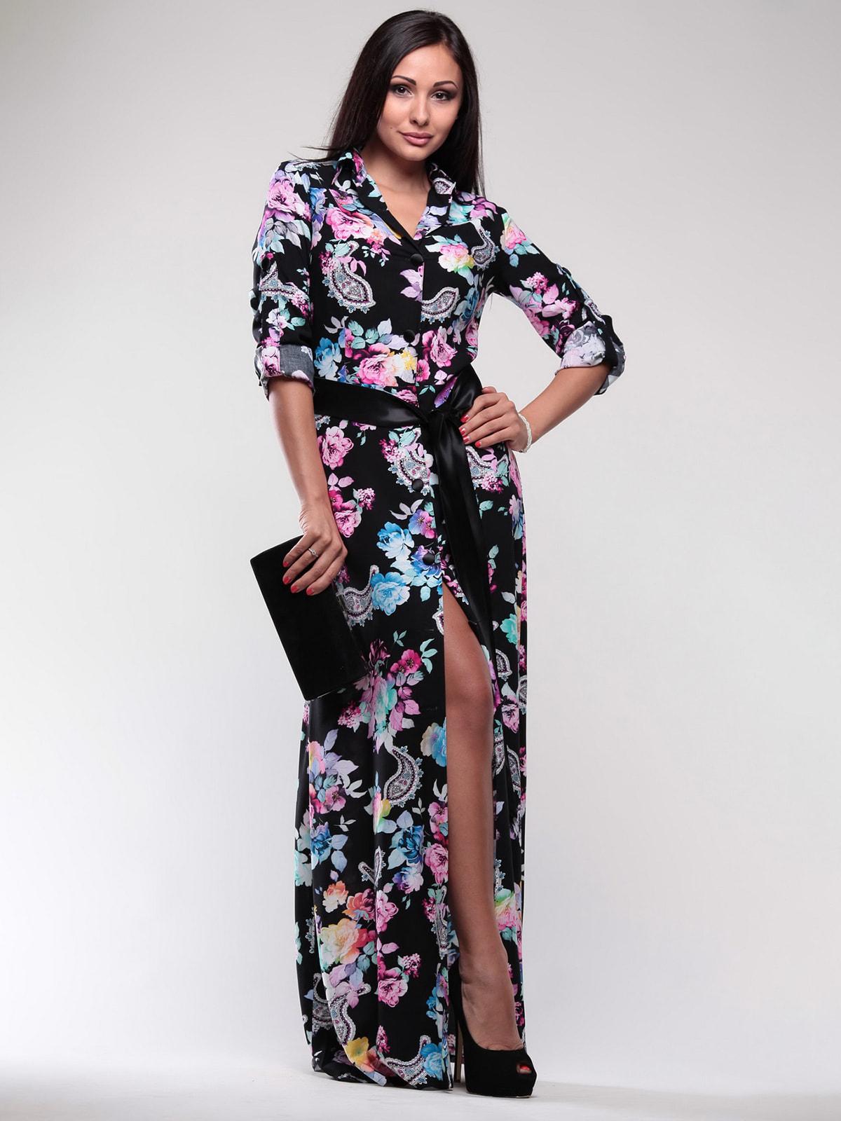 Сукня чорна в квітковий принт | 4687461