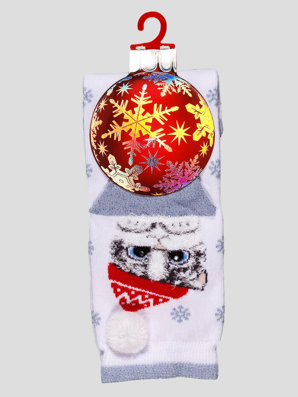 Шкарпетки білі з принтом | 4663704
