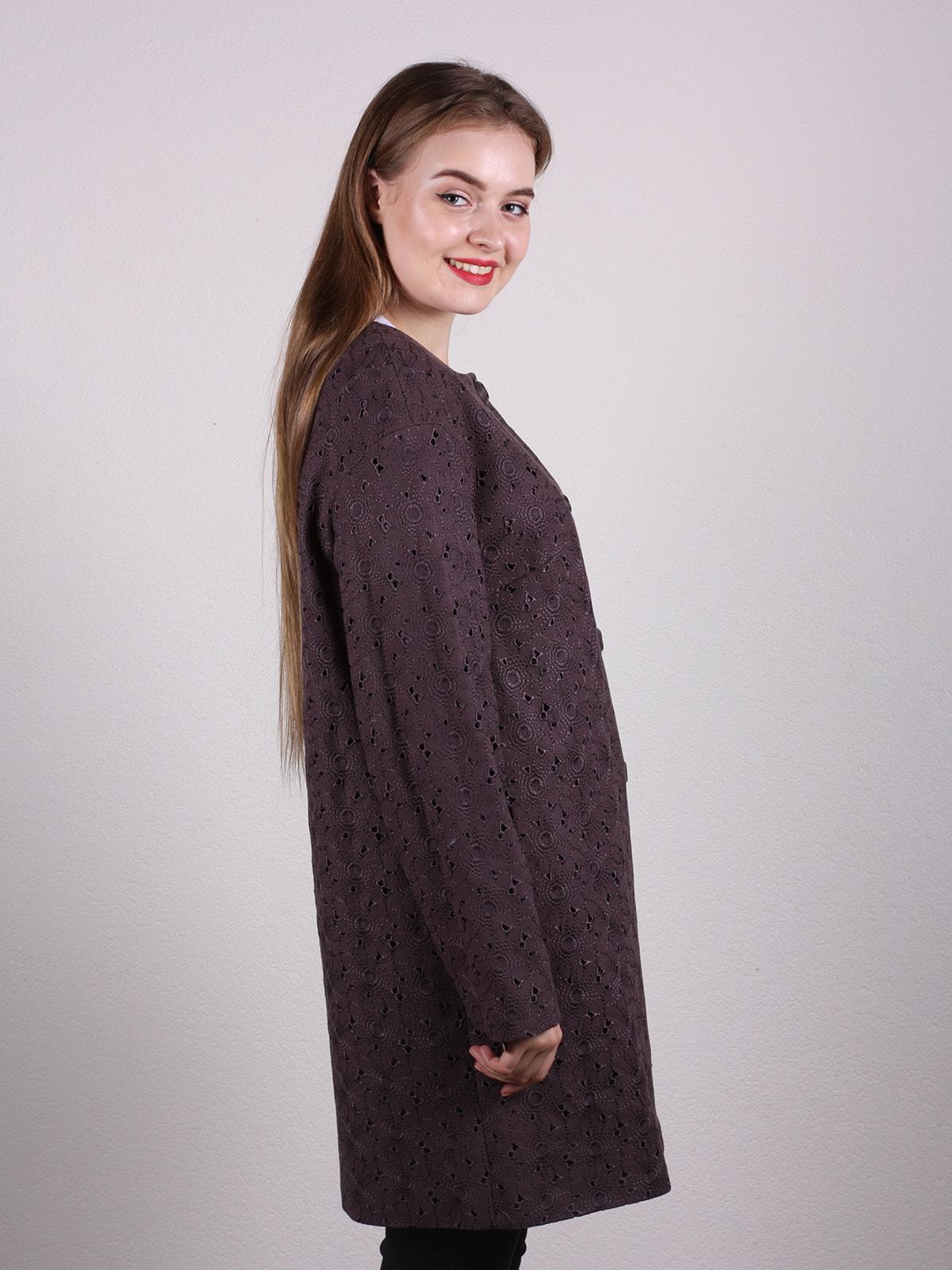 Пальто темно-фиолетовое | 4697651 | фото 2