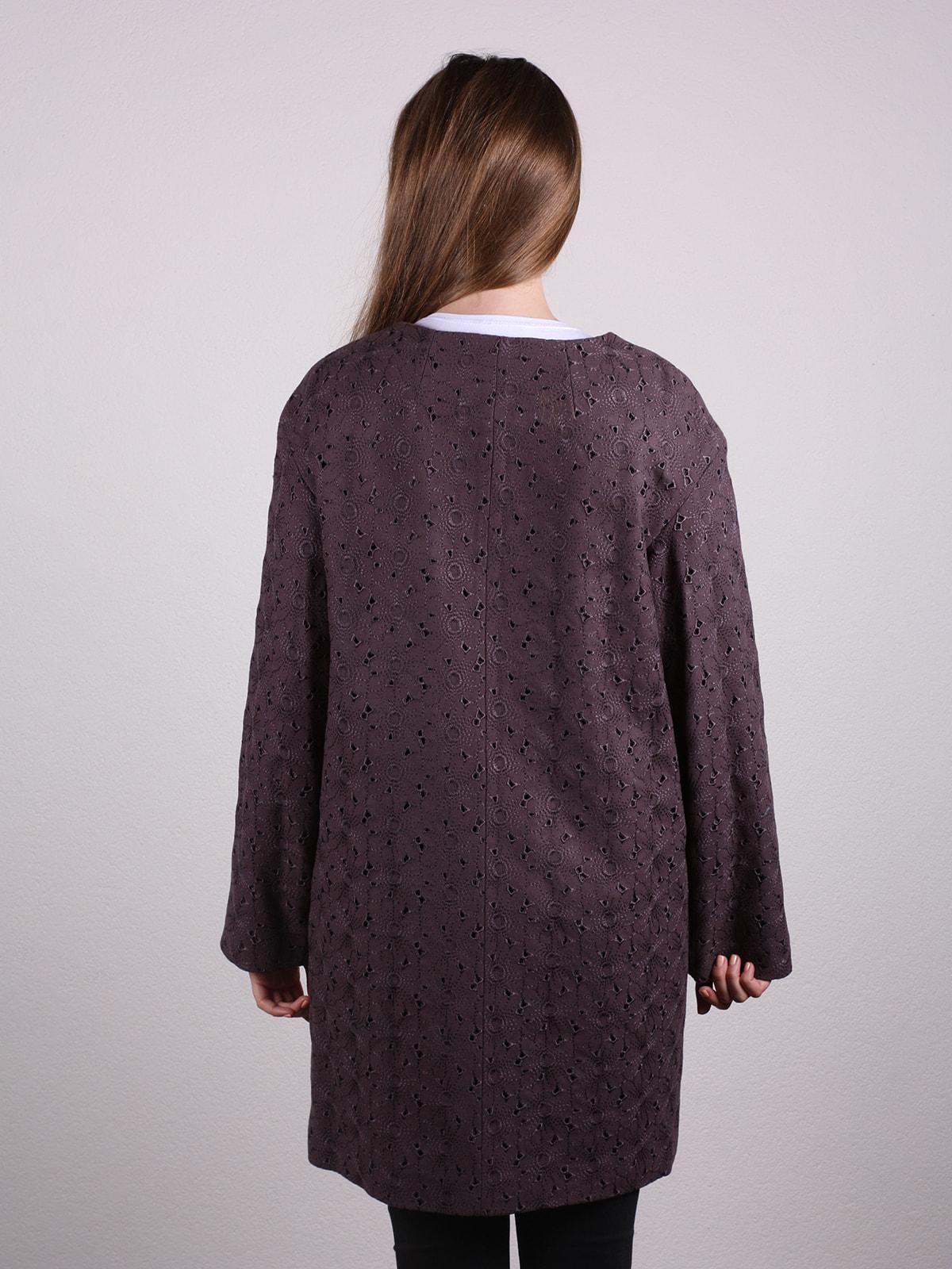 Пальто темно-фиолетовое | 4697651 | фото 3