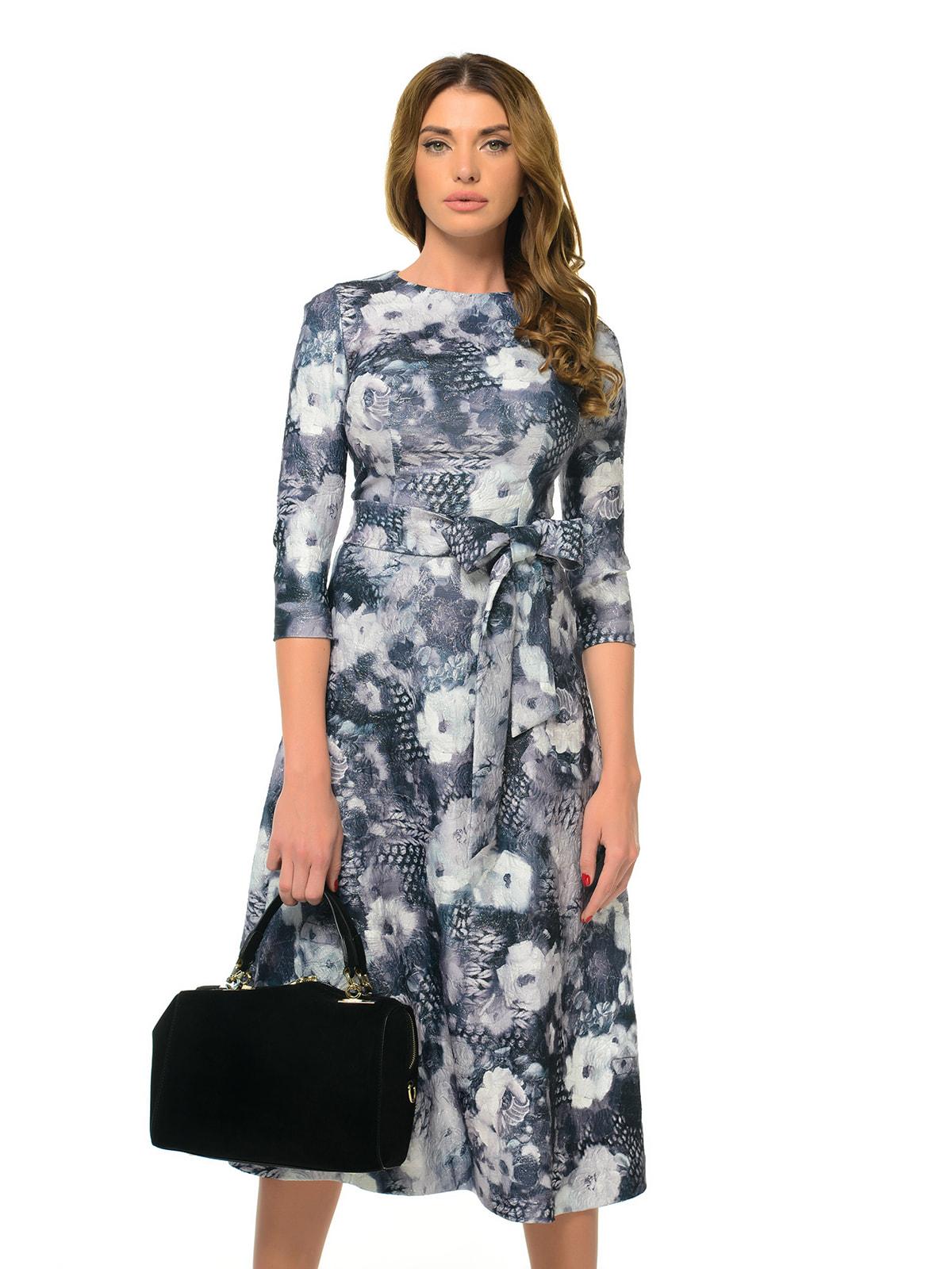 Платье серое с цветочным принтом | 4697199