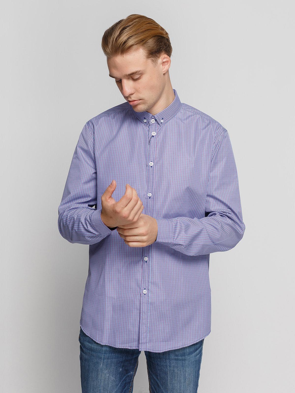 Рубашка в сине-бордовую клетку | 4683190