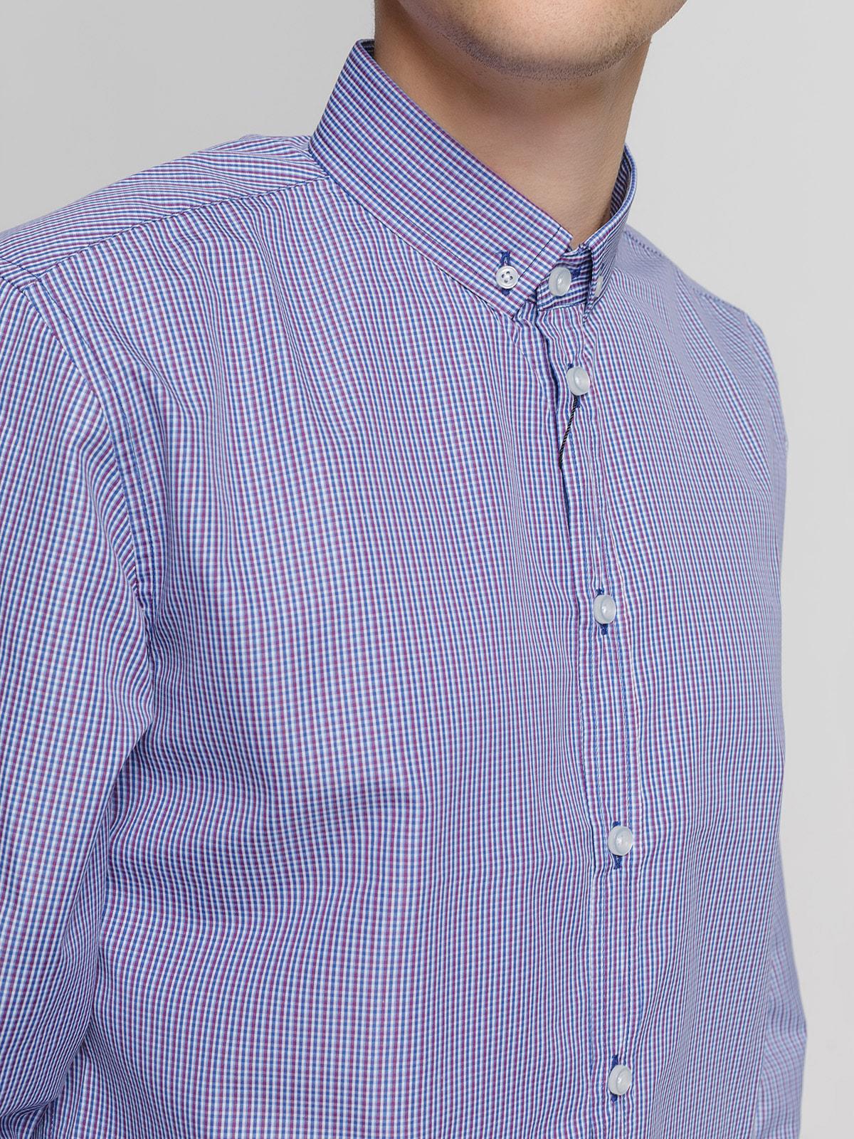 Рубашка в сине-бордовую клетку | 4683190 | фото 3