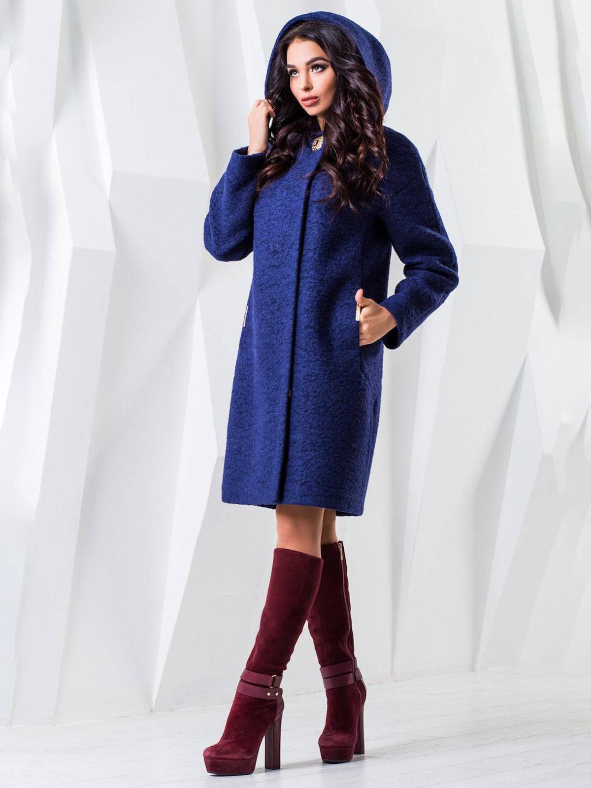 Пальто темно-синее меланжевое | 4616894 | фото 2