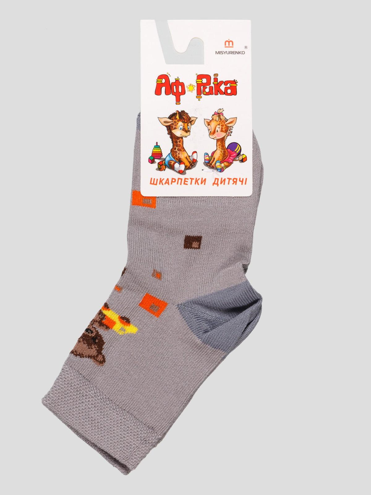 Шкарпетки світло-сірі з малюнком | 4498218