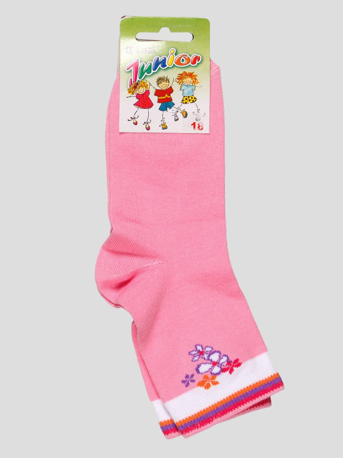 Шкарпетки рожеві з квітковим малюнком   4100499