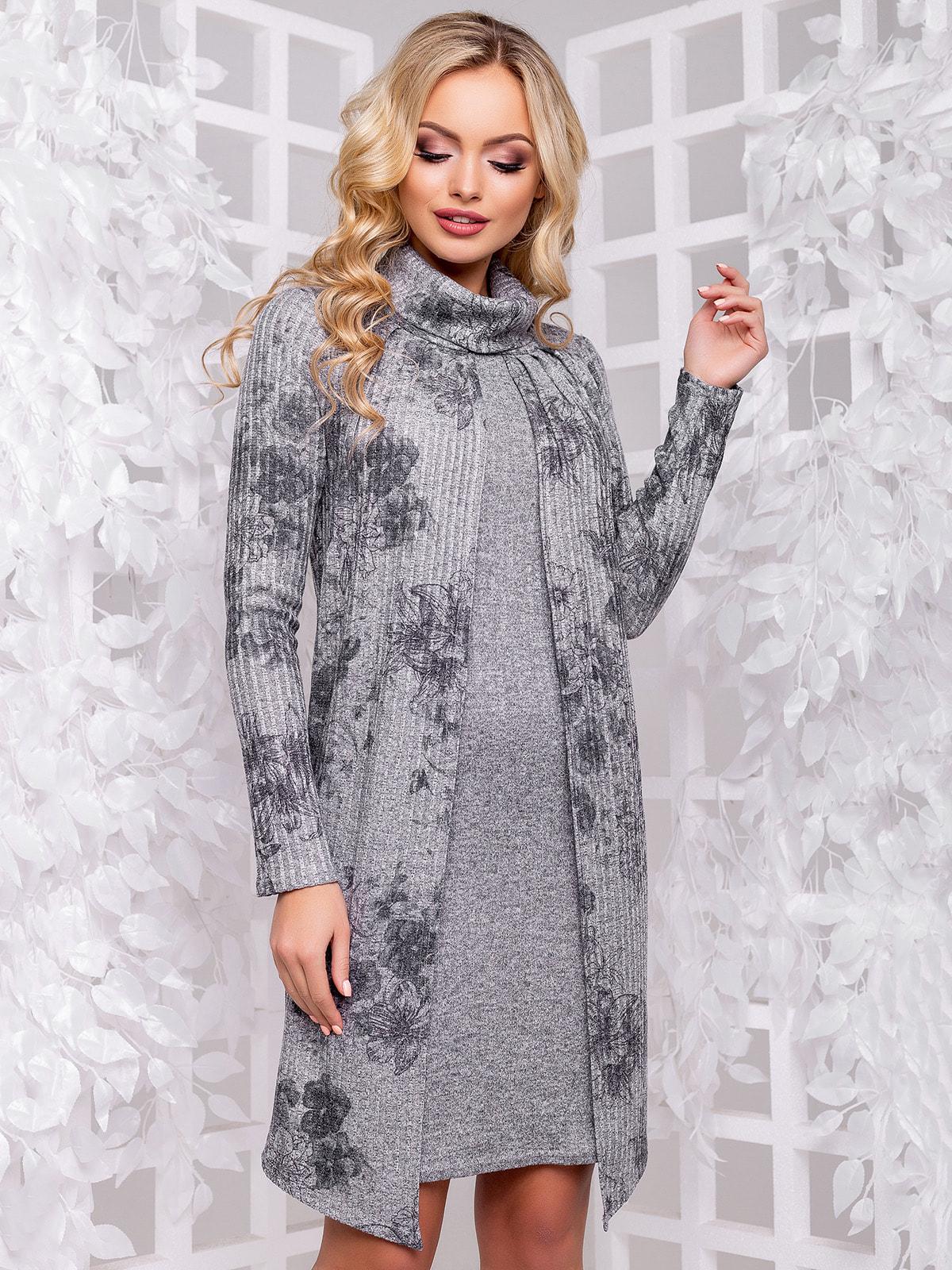 Платье серое с цветочным принтом | 4702478
