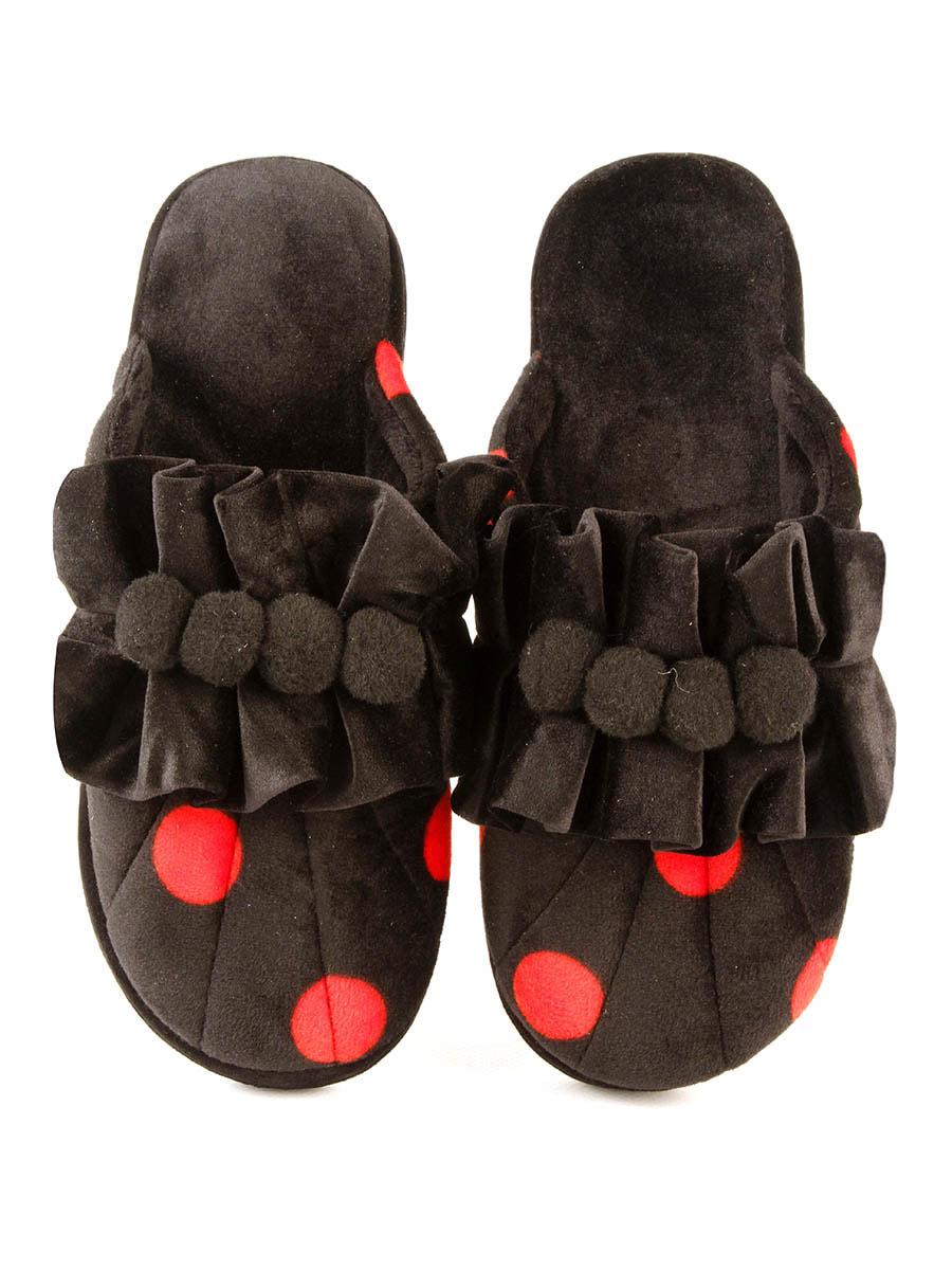 Тапочки черные в красный горошек   4705050