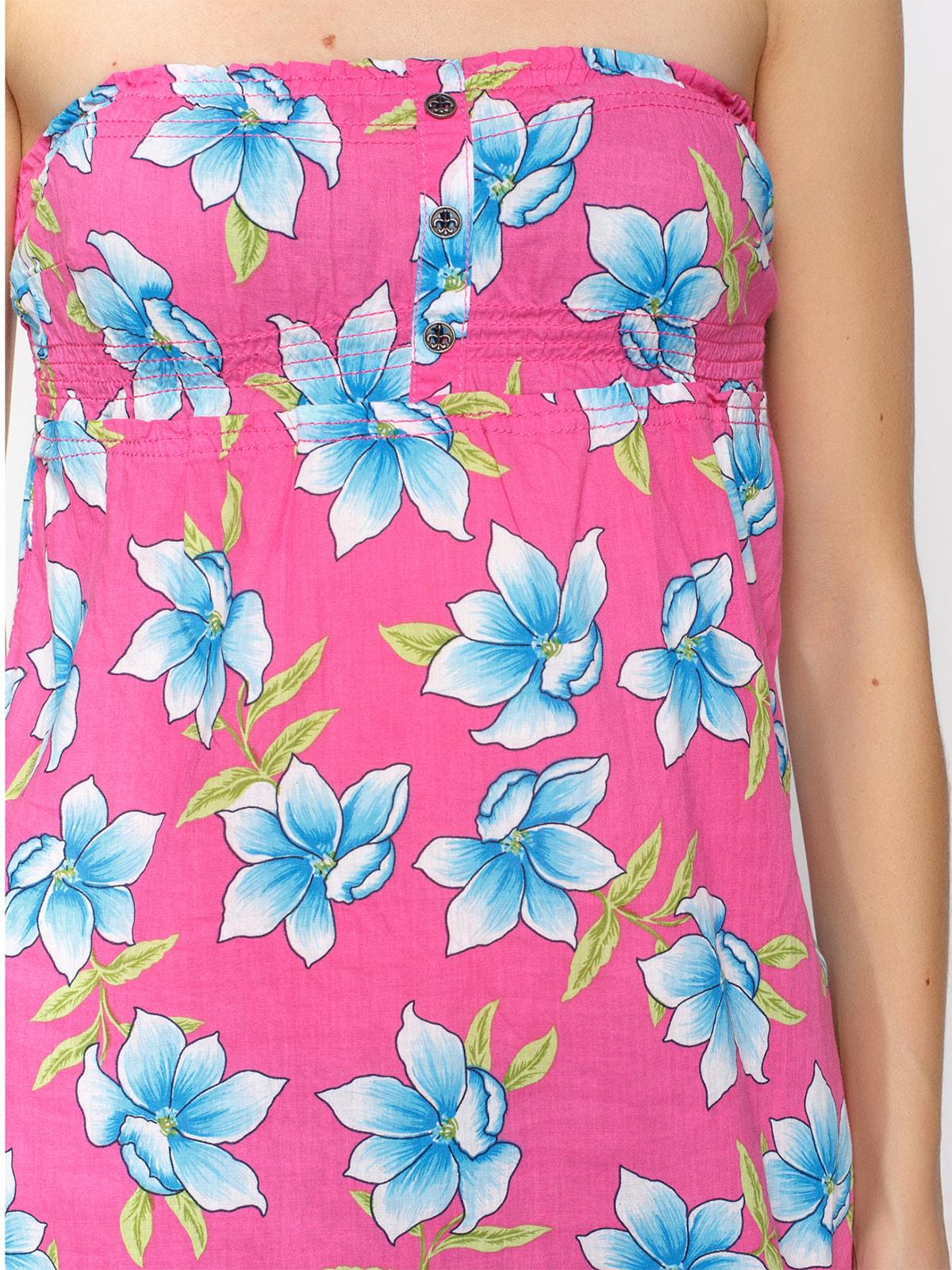 Топ рожевий у квітковий принт   4640420   фото 3