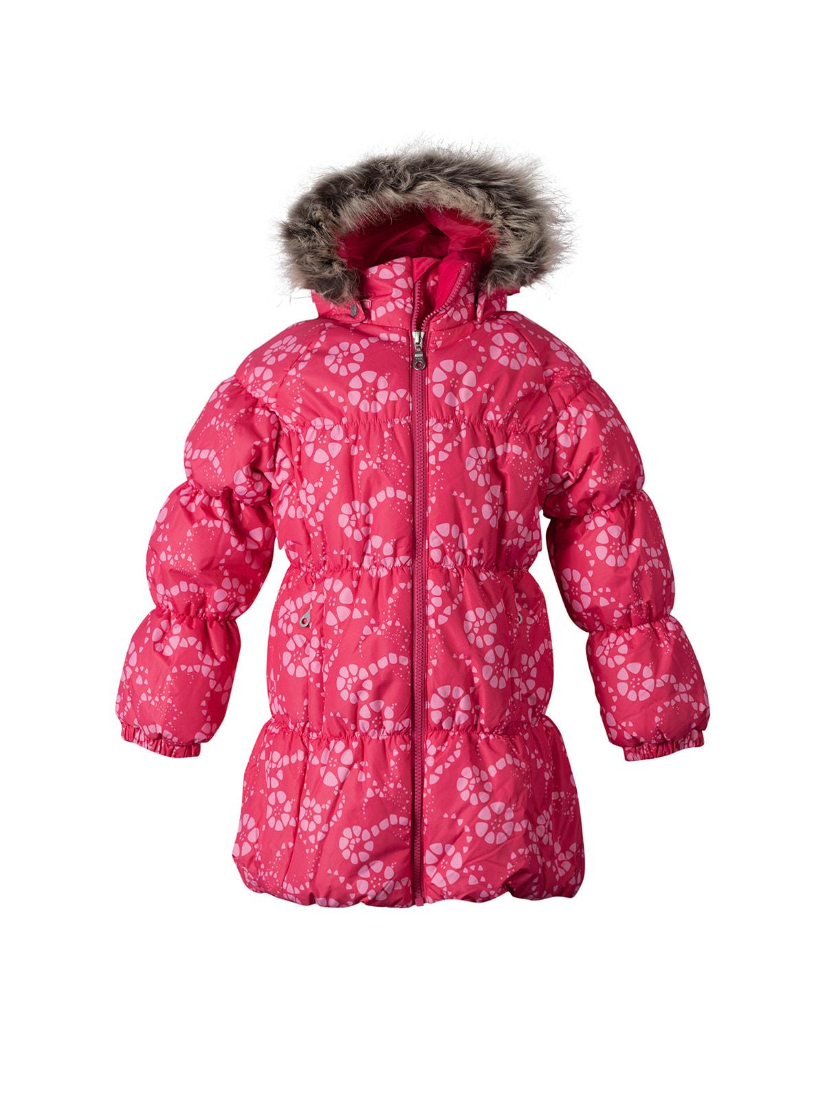 Пальто малинового кольору в квітковий принт   4706151