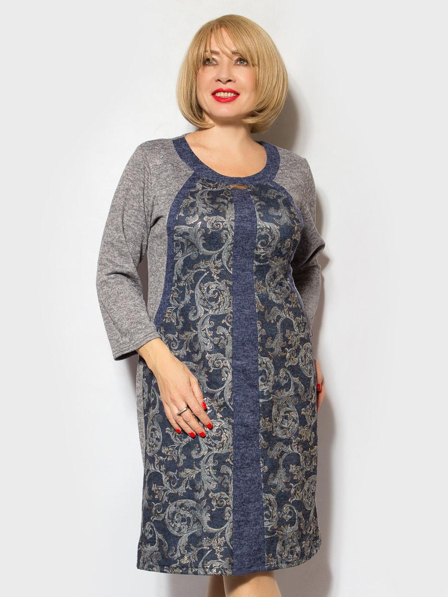 Платье серо-синее в принт   4706866
