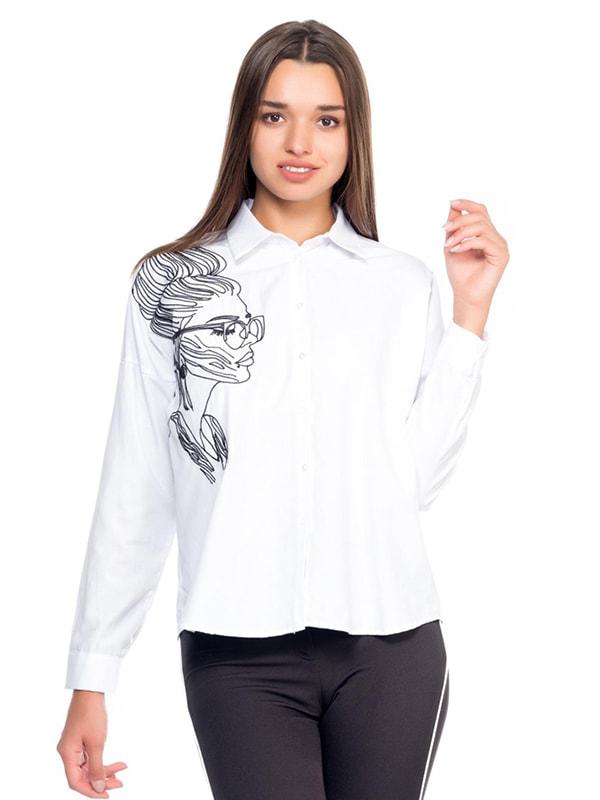 Сорочка біла з принтом | 4707524