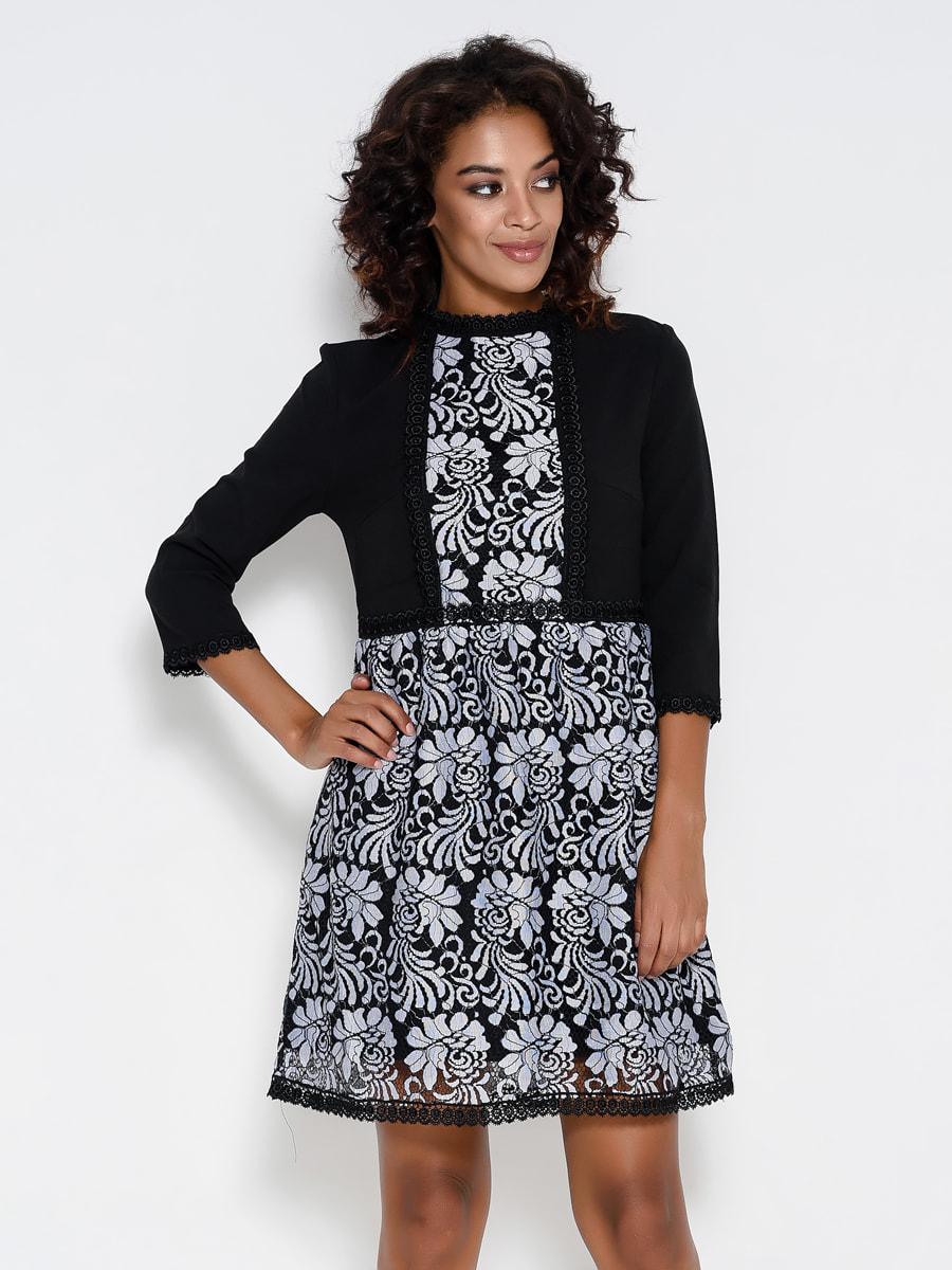 Платье черное в принт | 4707783