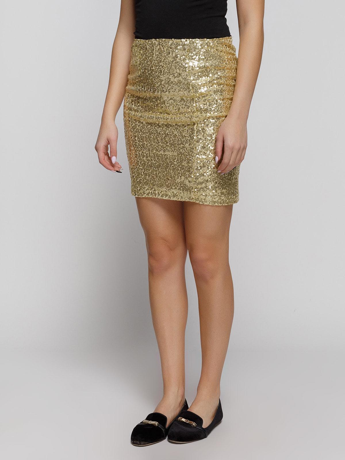 Юбка золотистого цвета с декором | 4630531