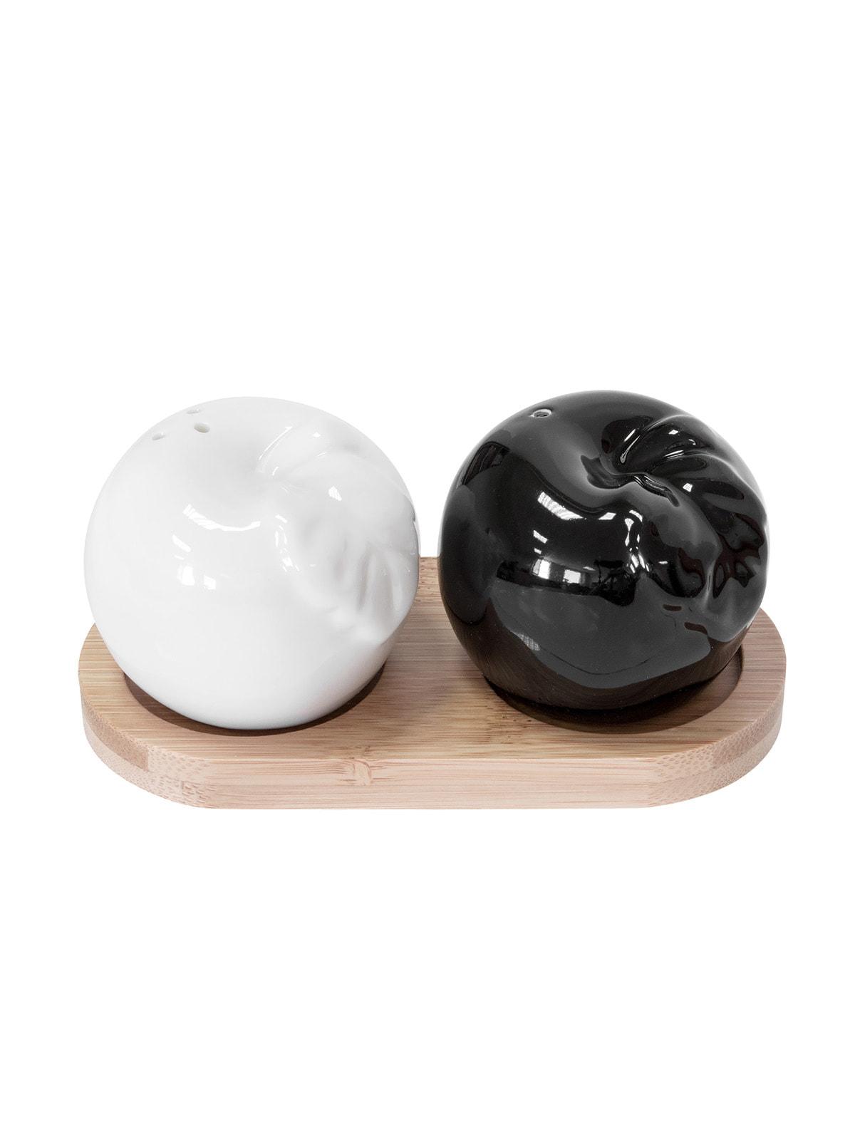 Набір ємностей для солі і перцю на підставці (3 предмети) | 4714343