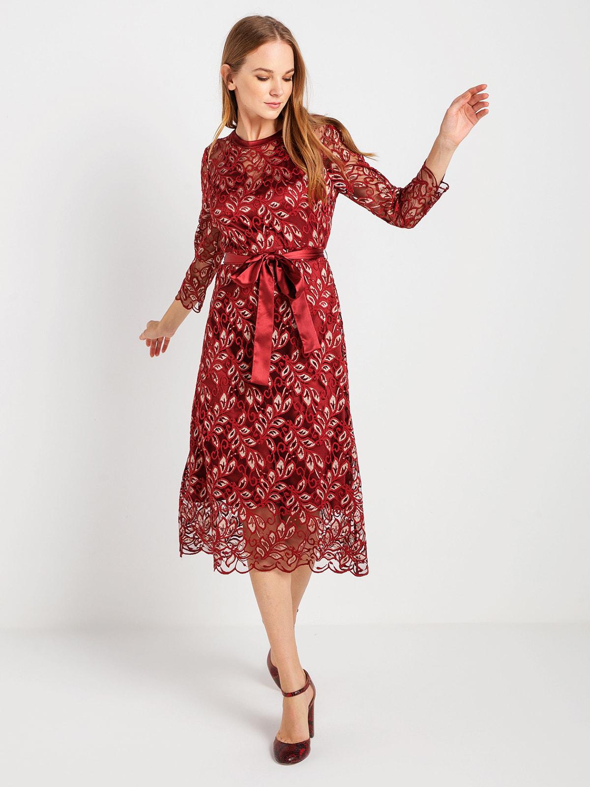 Сукня бордова в принт | 4715181