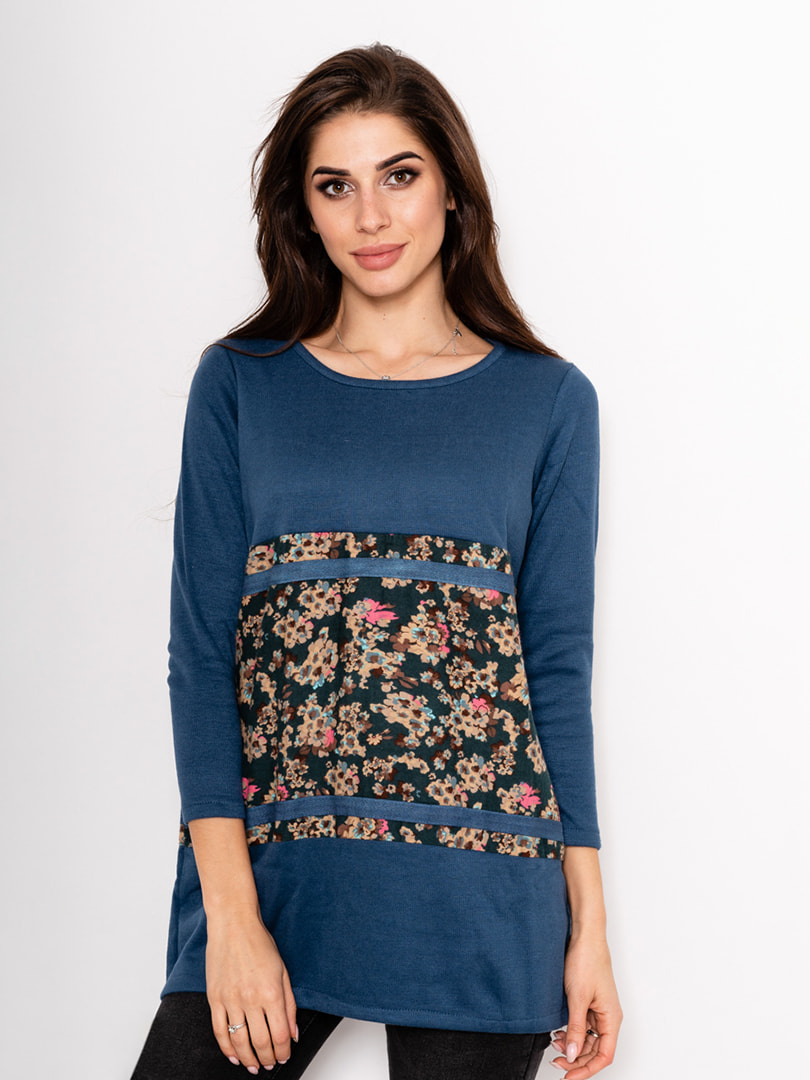 Туніка синя з квітковим принтом | 4693168