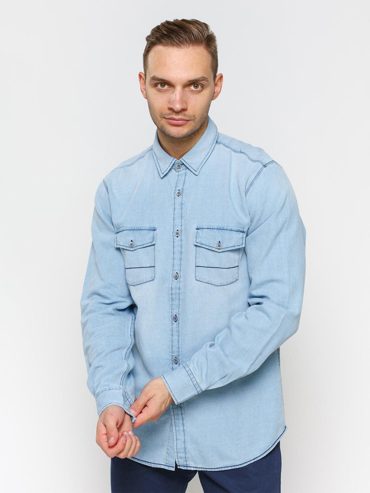 Рубашка голубая с эффектом потертой   1899034