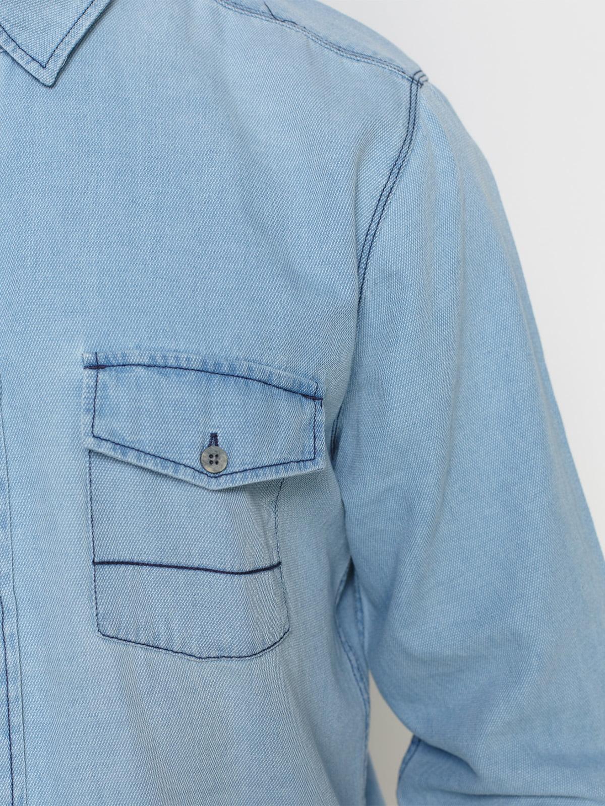 Рубашка голубая с эффектом потертой   1899034   фото 3