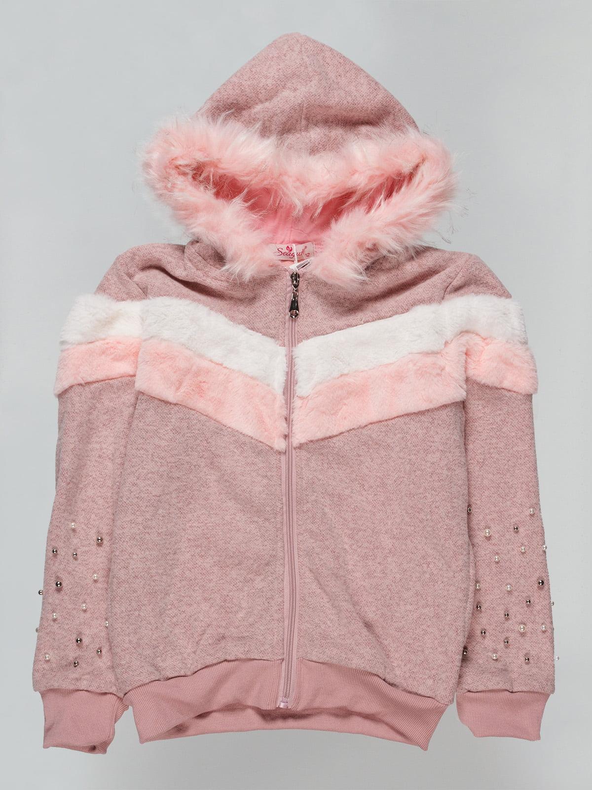 Толстовка бежево-рожевий утеплена | 4725427