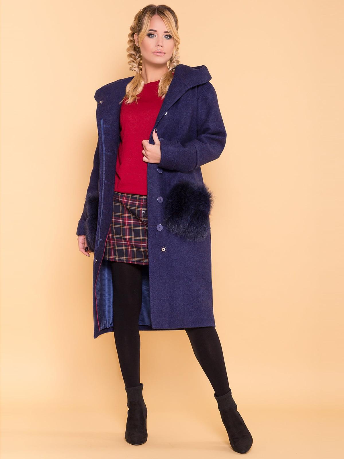 Пальто темно-синее | 4695792 | фото 3