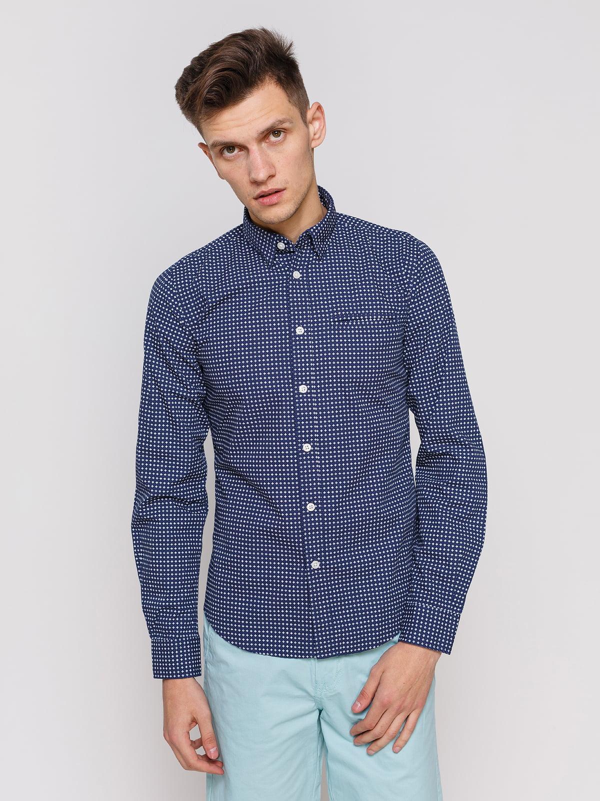 Рубашка синяя с принтом | 3966668