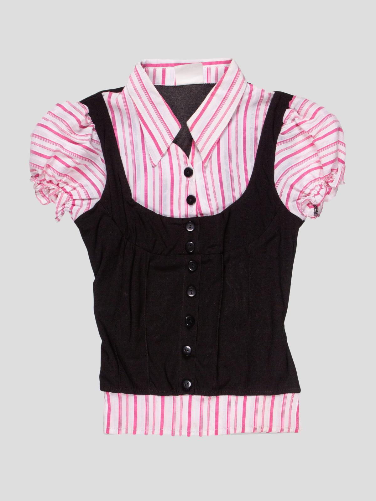 Блуза черно-розовая в полоску | 4715348