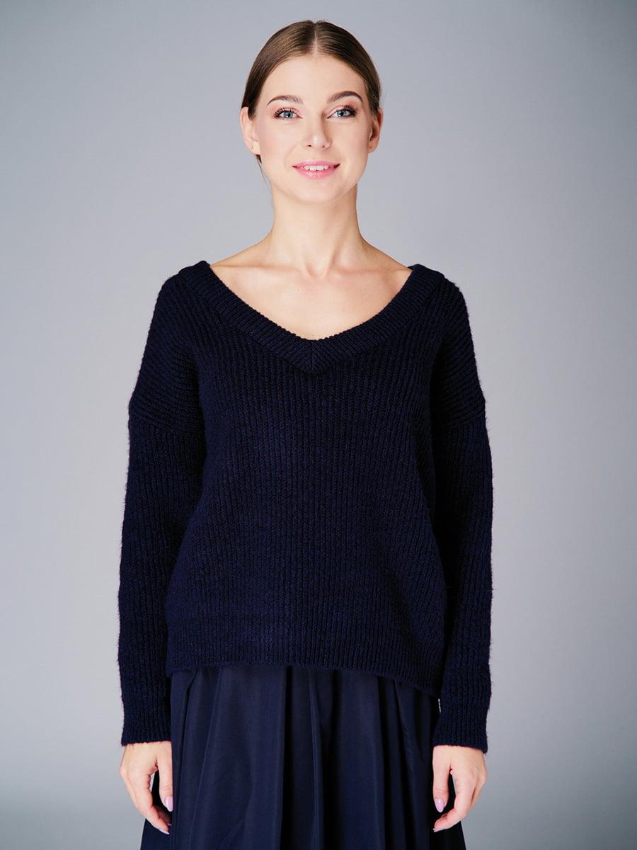 Пуловер темно-синій | 4740646