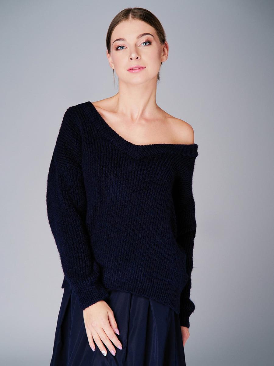 Пуловер темно-синій | 4740646 | фото 4