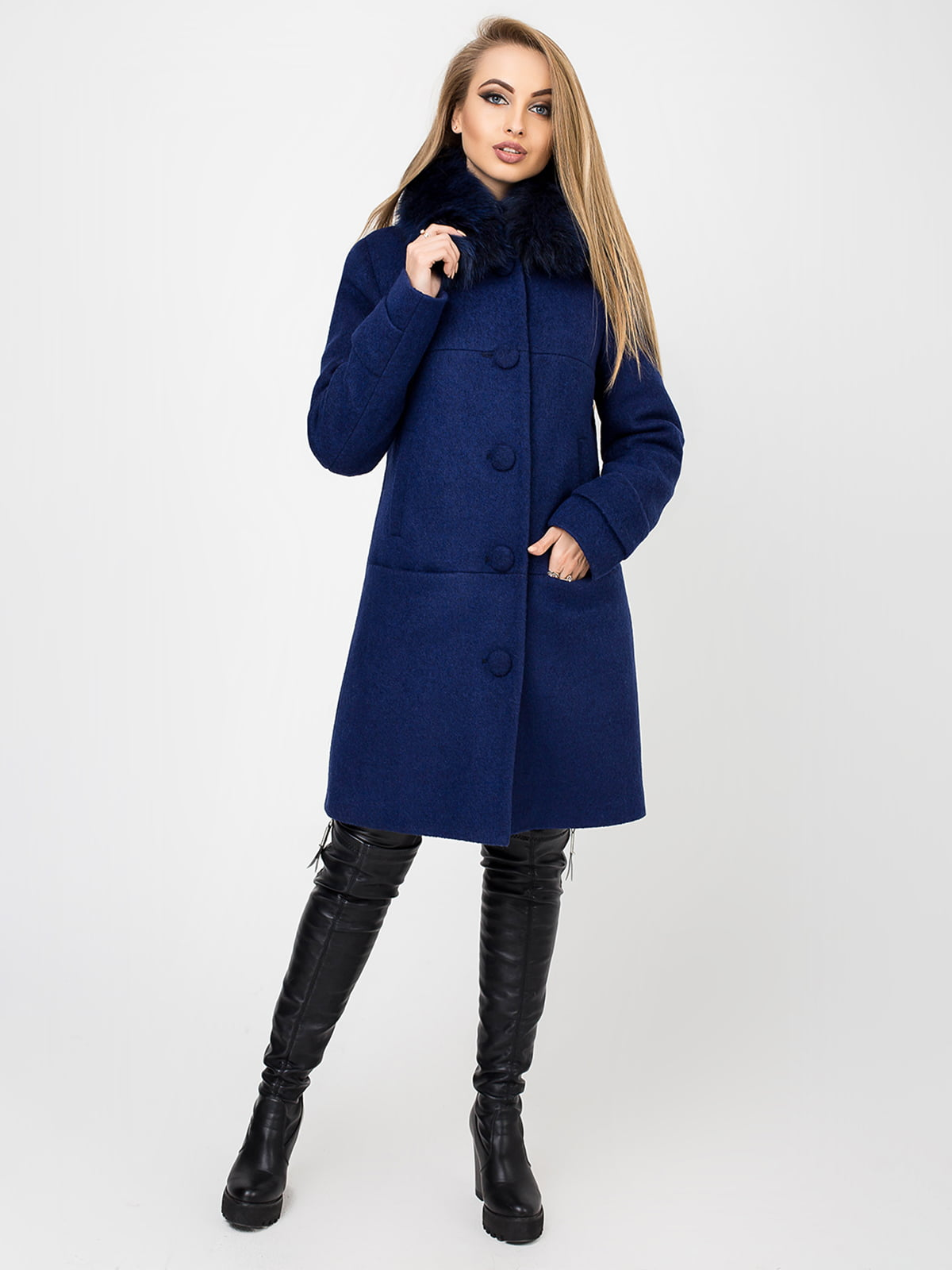 Пальто кольору індиго | 4761838